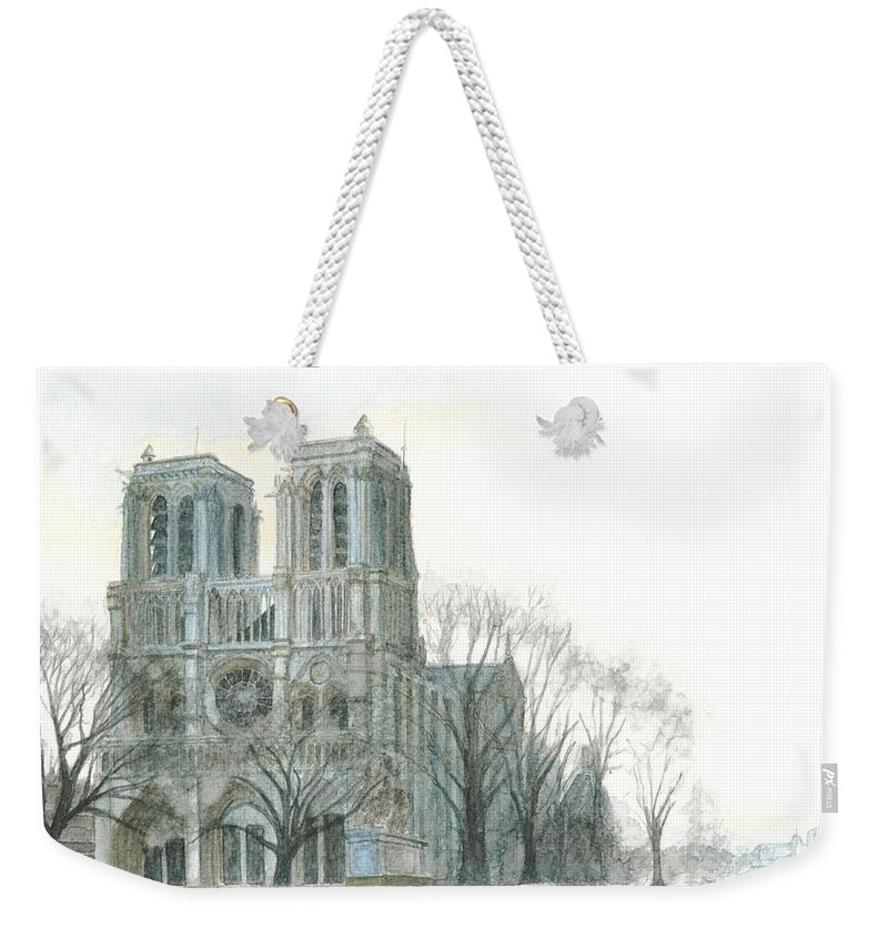 Notre Dame Weekender Tote Bag featuring the painting Notre Dame Cathedral In March by Dominic White