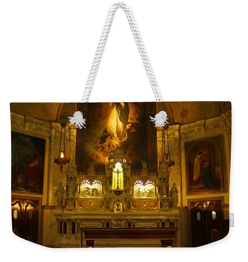 Church Weekender Tote Bag featuring the photograph Notre-dame-de-bon-secours Chapel by Deborah Benoit