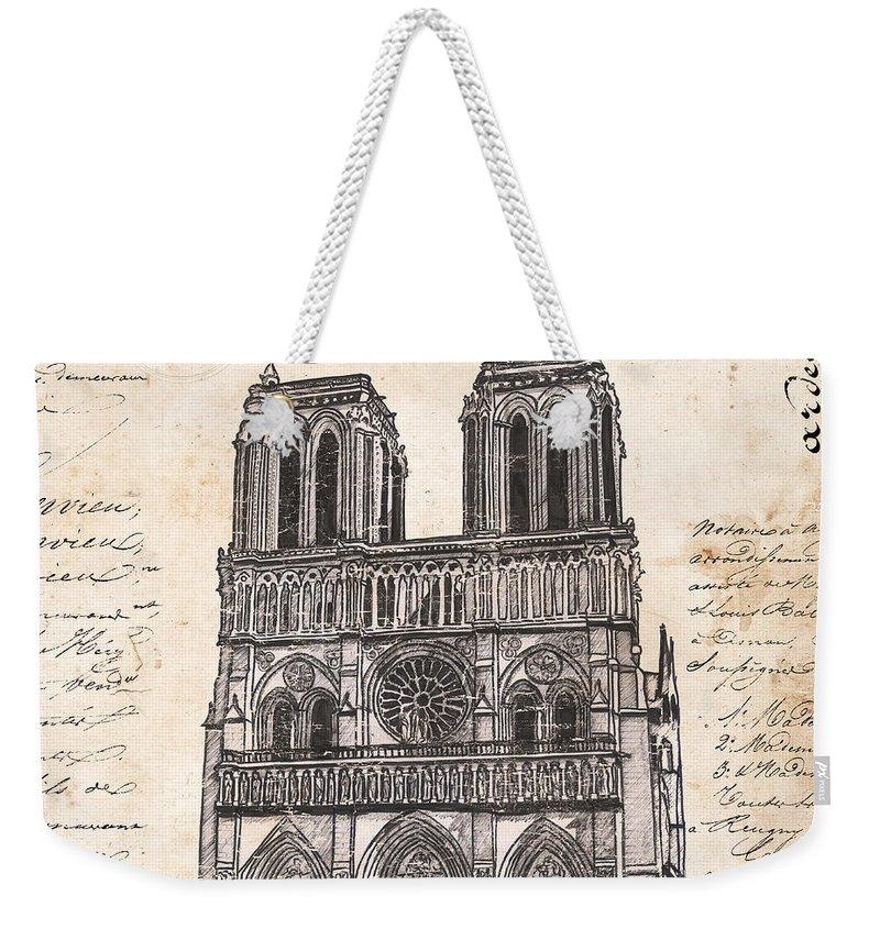 Notre Dame Weekender Tote Bag featuring the painting Notre Dame De Paris by Debbie DeWitt