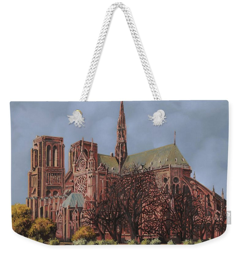 Paris Weekender Tote Bag featuring the painting Notre-dame by Guido Borelli