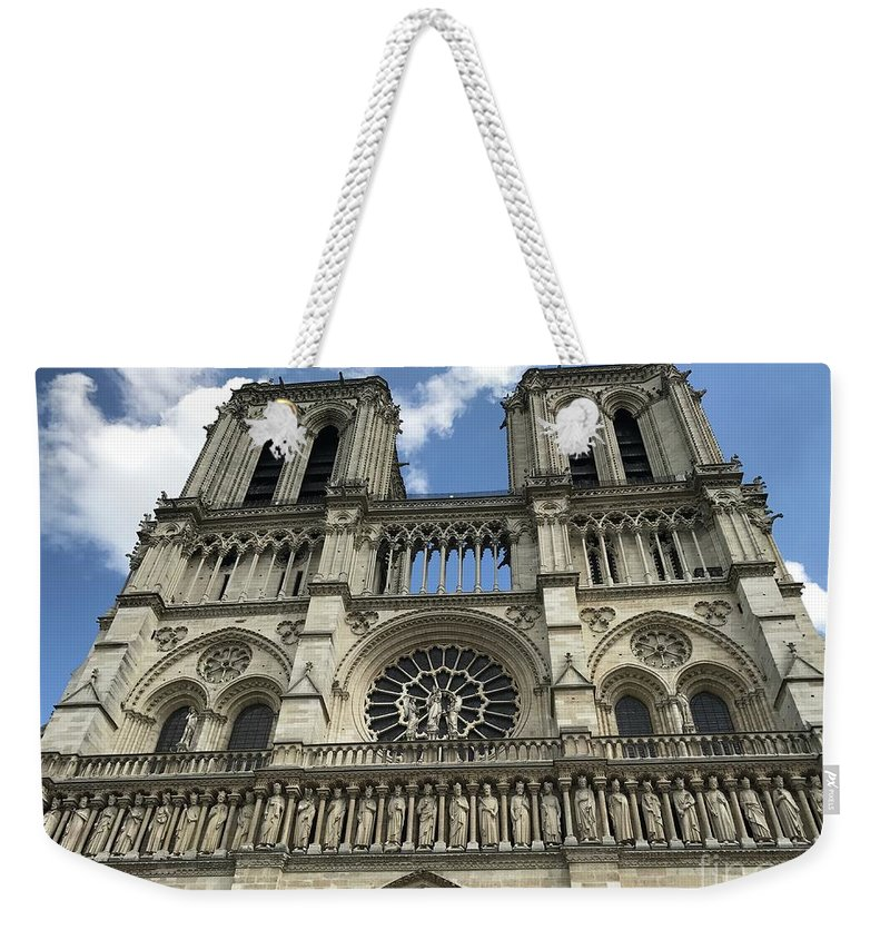 Notre Dame Weekender Tote Bag featuring the photograph Notre Dame by Nadine Rippelmeyer