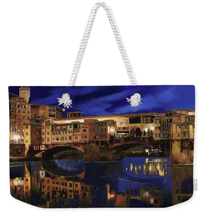 Firenze Weekender Tote Bag featuring the painting Notturno Fiorentino by Guido Borelli