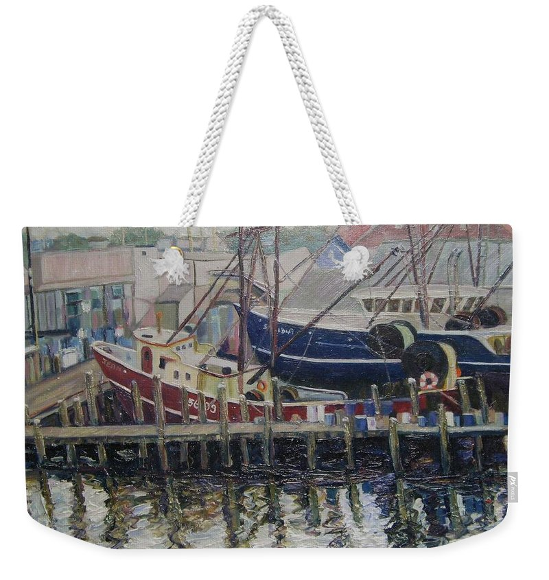 Boats Weekender Tote Bag featuring the painting Nova Scotia Boats At Rest by Richard Nowak