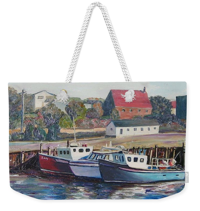 Nova Scotia Weekender Tote Bag featuring the painting Nova Scotia Boats by Richard Nowak