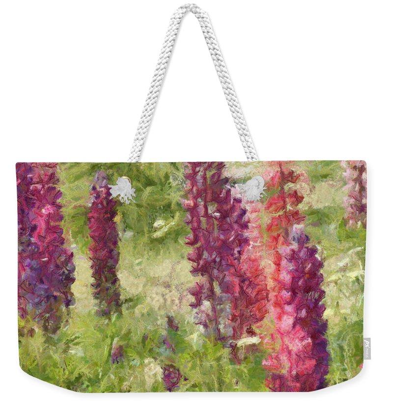 Nova Scotia Weekender Tote Bag featuring the painting Nova Scotia Lupine Flowers by Jeffrey Kolker