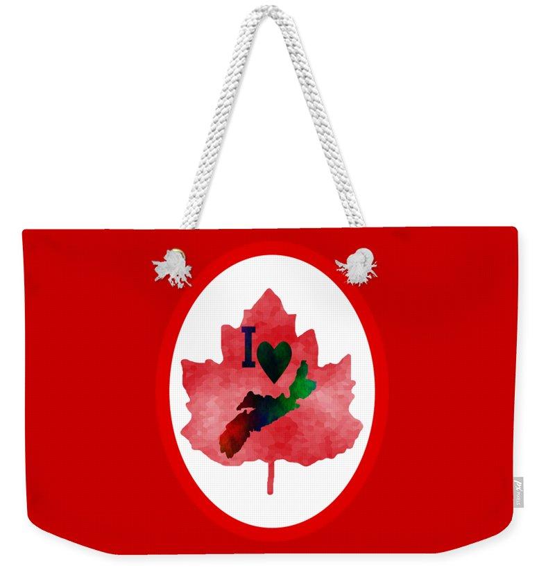 Nova Scotia Art Weekender Tote Bag featuring the digital art Nova Scotia Proud by Kathleen Sartoris