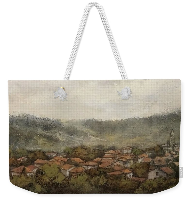 Cantabria Weekender Tote Bag featuring the painting Novales-Cantabria by Tomas Castano