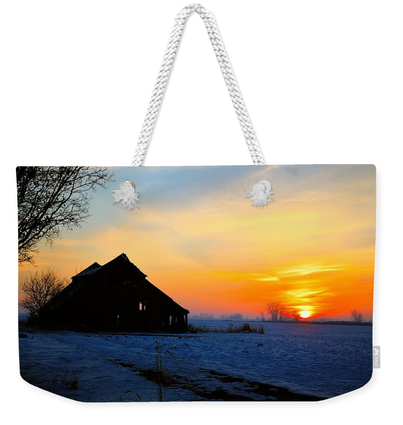 Sun Weekender Tote Bag featuring the photograph November Barn 2 by Bonfire Photography
