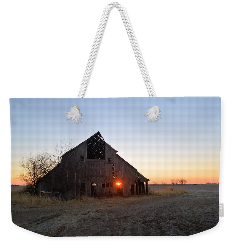 Sun Weekender Tote Bag featuring the photograph November Barn by Bonfire Photography