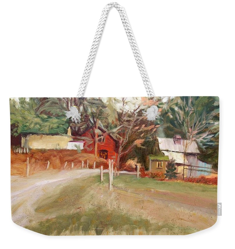 Landscape Weekender Tote Bag featuring the painting November by Elena Sokolova
