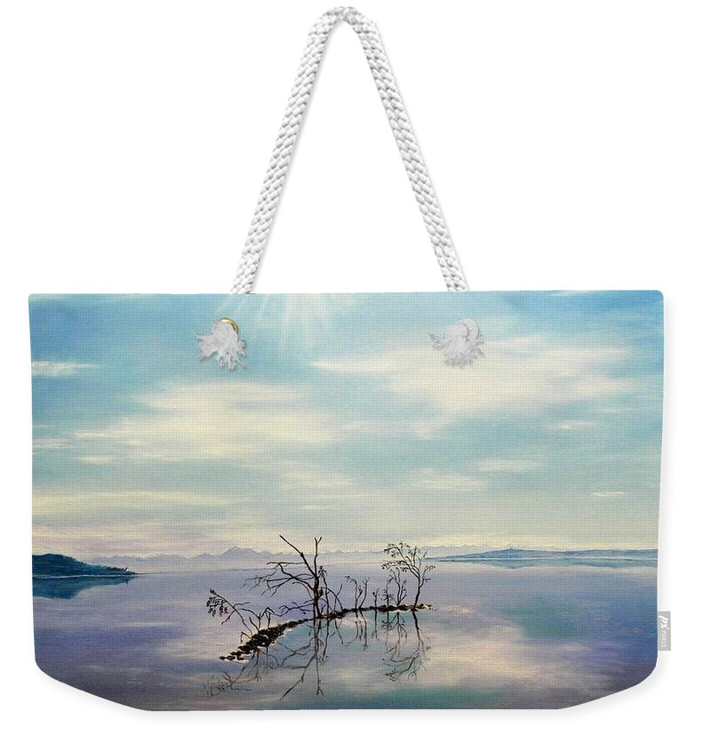 Late Novemeber In Bavaria Weekender Tote Bag featuring the painting November On A Bavarian Lake by Helmut Rottler