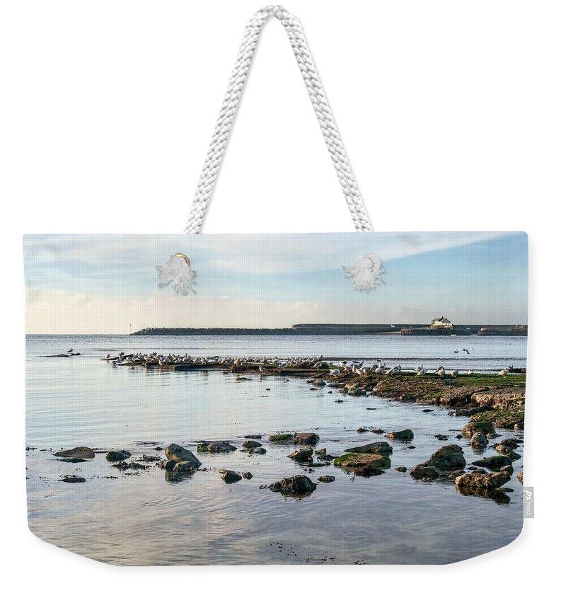 Lyme-regis Weekender Tote Bag featuring the photograph November Seascape 5 - Lyme Regis by Susie Peek