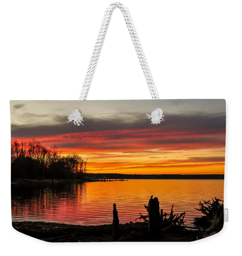 Terry D Photography Weekender Tote Bag featuring the photograph November Sunset Manasquan Reservoir Nj by Terry DeLuco