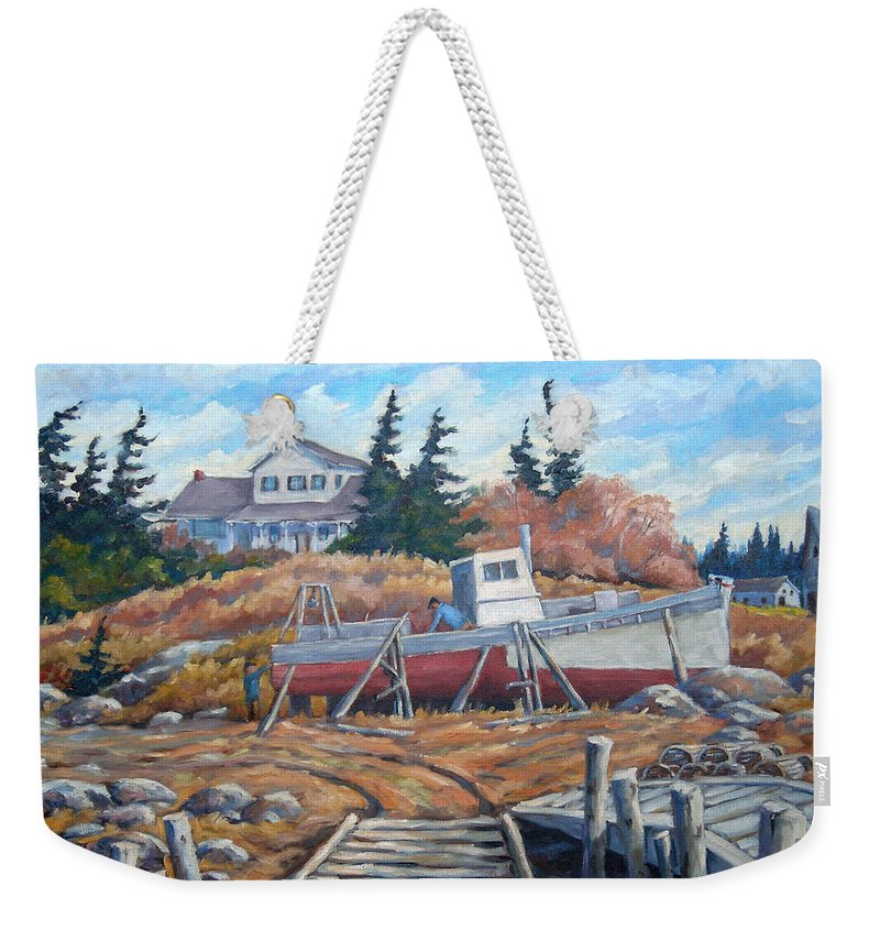 Boat Weekender Tote Bag featuring the painting Novia Scotia by Richard T Pranke