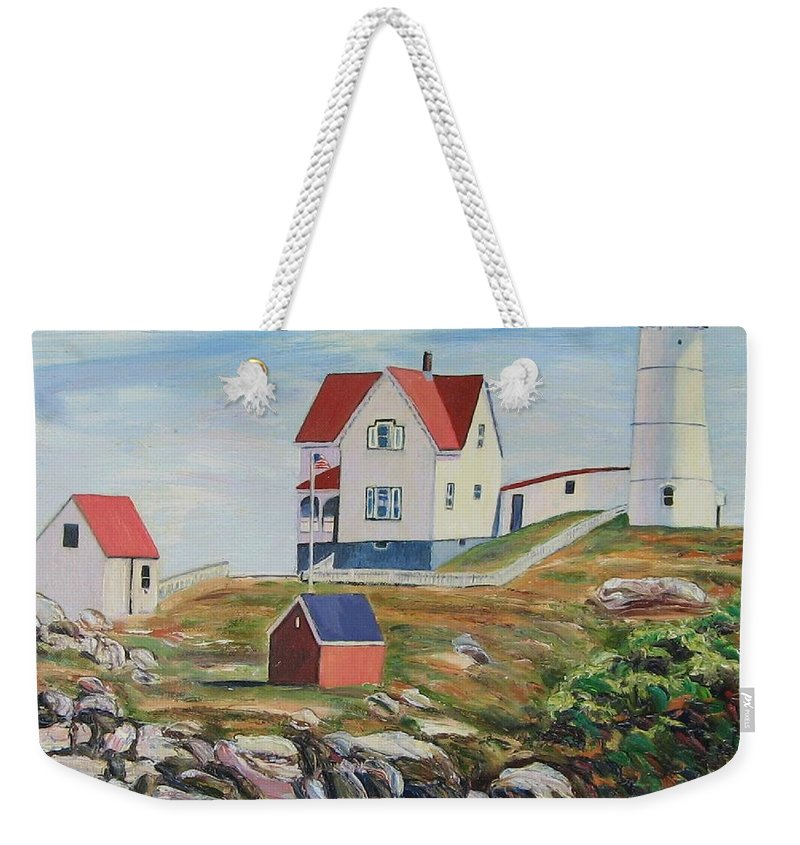 Nubble Light House Weekender Tote Bag featuring the painting Nubble Light House Maine by Richard Nowak