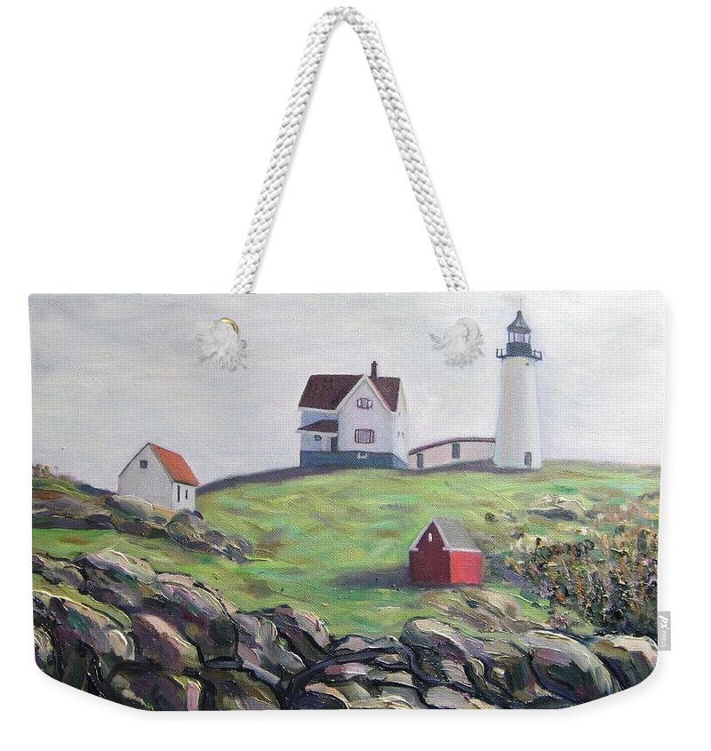Maine Weekender Tote Bag featuring the painting Nubble Light House by Richard Nowak