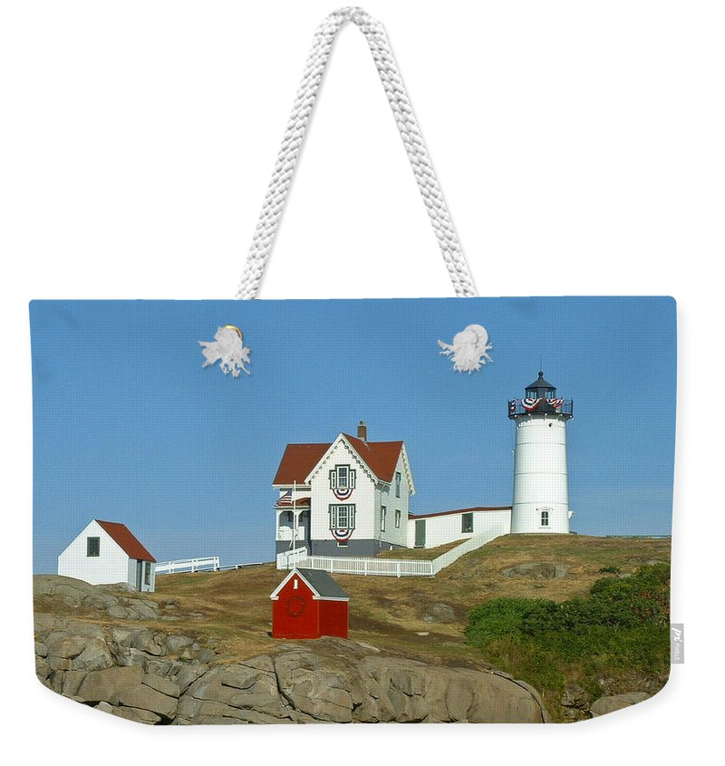 Nubble Weekender Tote Bag featuring the photograph Nubble Light by Margie Wildblood
