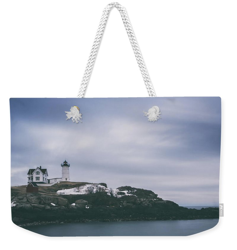 Nubble Lighthouse Weekender Tote Bag featuring the photograph Nubble Lighthouse Overcast by Michael Ver Sprill
