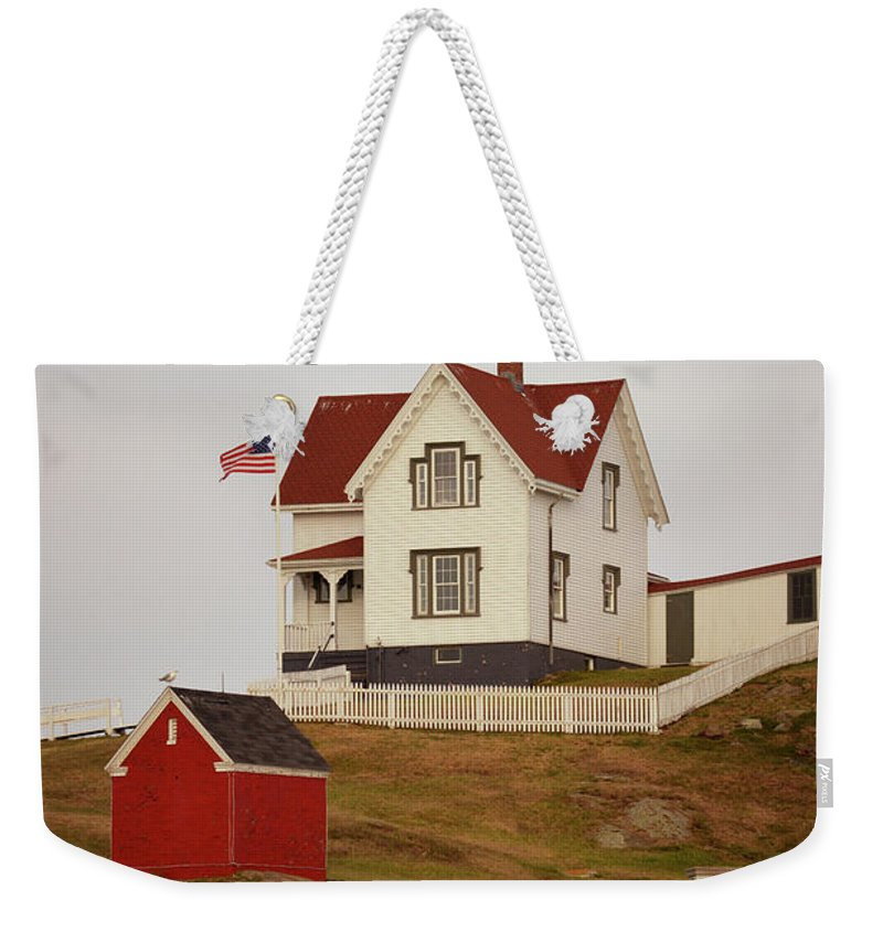 Nubble Lighthouse Weekender Tote Bag featuring the photograph Nubble Lighthouse Shed And House by Pamela Picassito