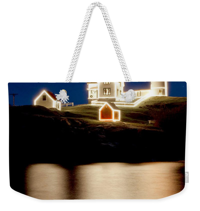 Lighthouse Weekender Tote Bag featuring the photograph Nubble Stars by Greg Fortier