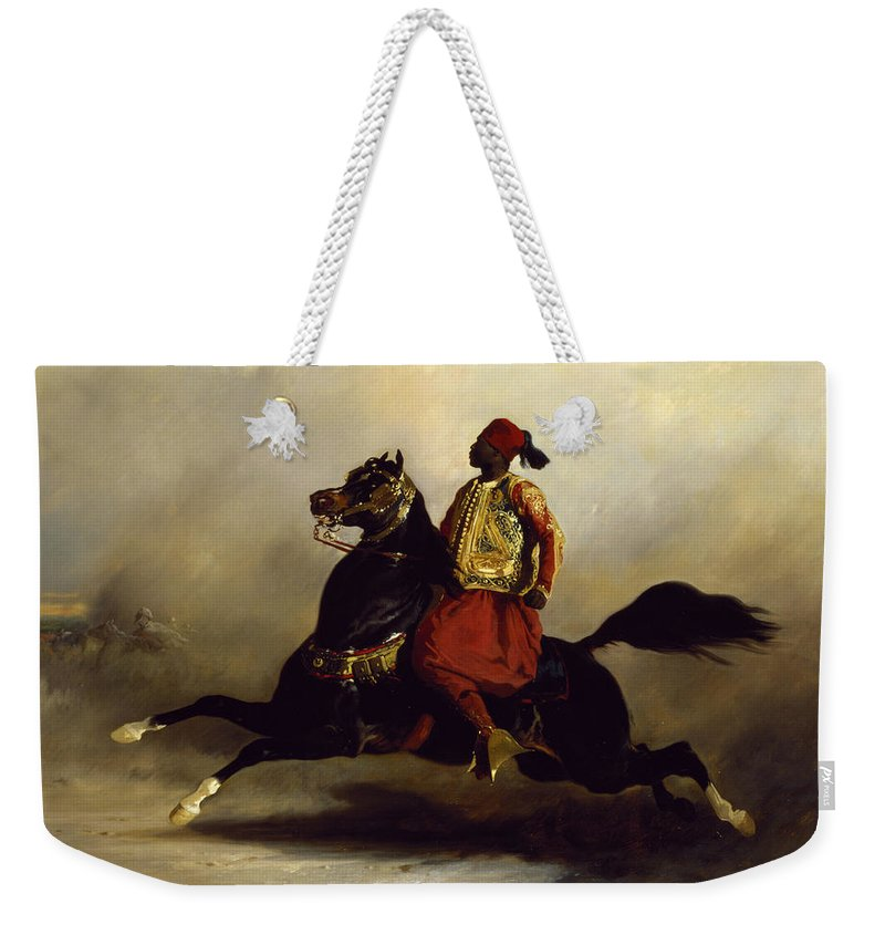Nubian Weekender Tote Bag featuring the painting Nubian Horseman At The Gallop by Alfred Dedreux or de Dreux