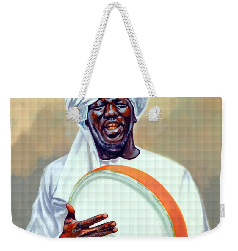 Impressionism Weekender Tote Bag featuring the painting Nubian Musician Player Playing Duff by Ahmed Bayomi