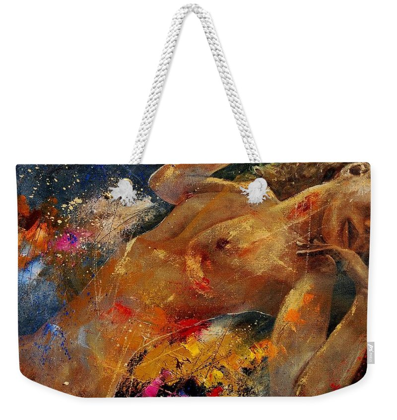 Nude Weekender Tote Bag featuring the painting Nude 0604 by Pol Ledent