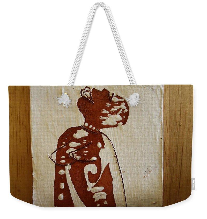 Jesus Weekender Tote Bag featuring the ceramic art Nude 1 by Gloria Ssali