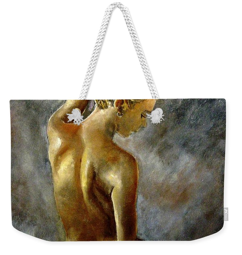 Girl Nude Weekender Tote Bag featuring the painting Nude 27 by Pol Ledent