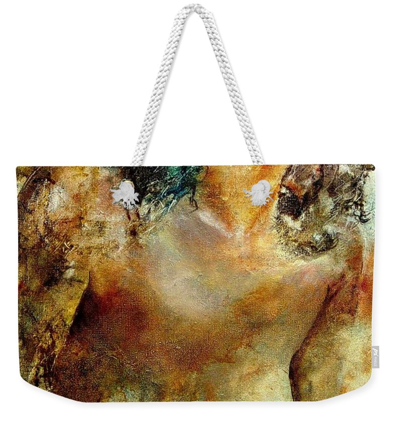 Girl Nude Weekender Tote Bag featuring the painting Nude 34 by Pol Ledent
