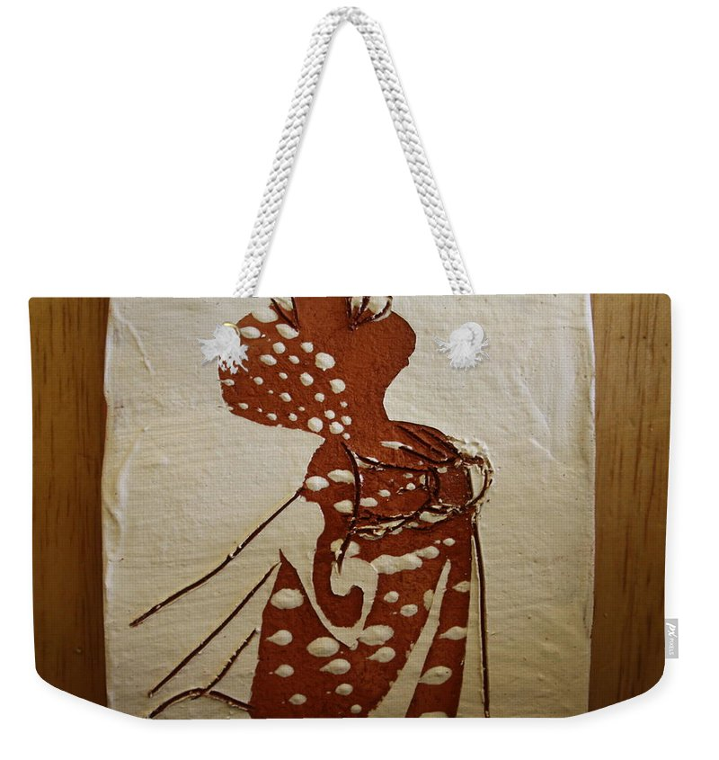 Jesus Weekender Tote Bag featuring the ceramic art Nude 4 - Tile by Gloria Ssali