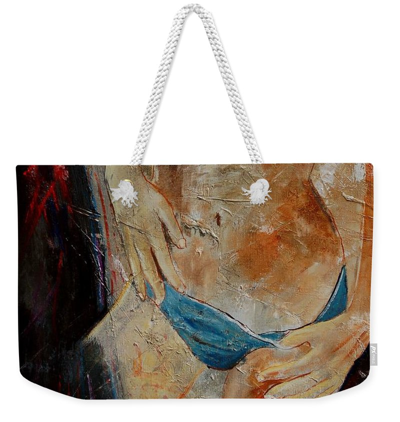 Girl Nude Weekender Tote Bag featuring the painting Nude 450608 by Pol Ledent