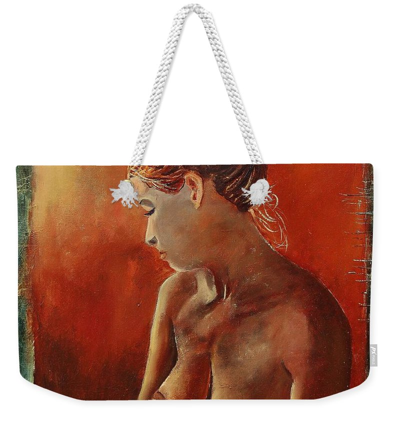 Nude Weekender Tote Bag featuring the painting Nude 458755 by Pol Ledent