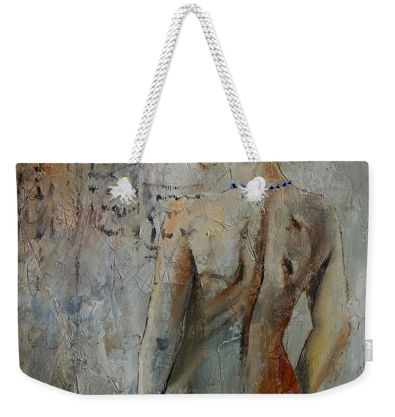 Girl Weekender Tote Bag featuring the painting Nude 459020 by Pol Ledent