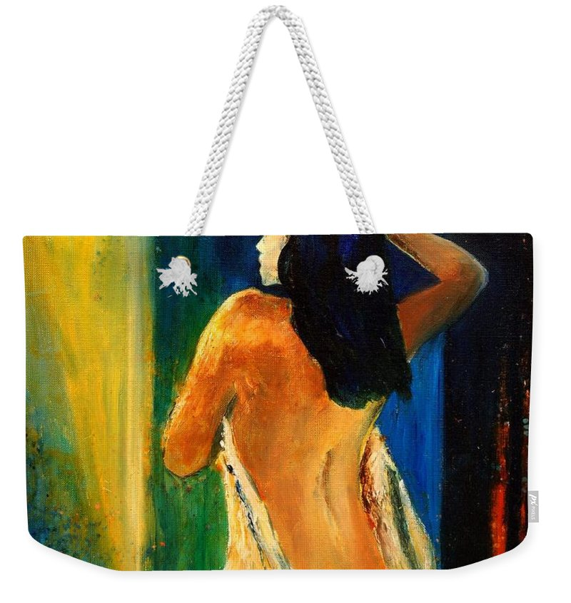 Girl Weekender Tote Bag featuring the painting Nude 459070 by Pol Ledent