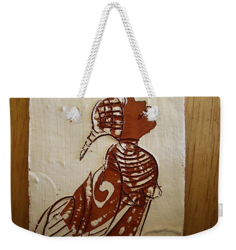 Jesus Weekender Tote Bag featuring the ceramic art Nude 5 - Tile by Gloria Ssali