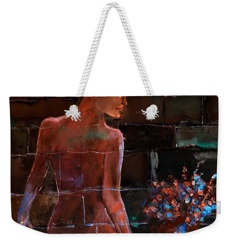 Nude Weekender Tote Bag featuring the painting Nude 556123 by Pol Ledent