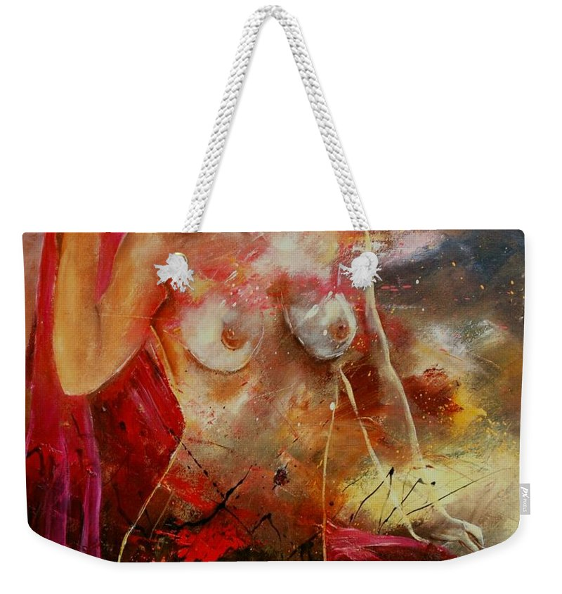 Nude Weekender Tote Bag featuring the painting Nude 561008 by Pol Ledent