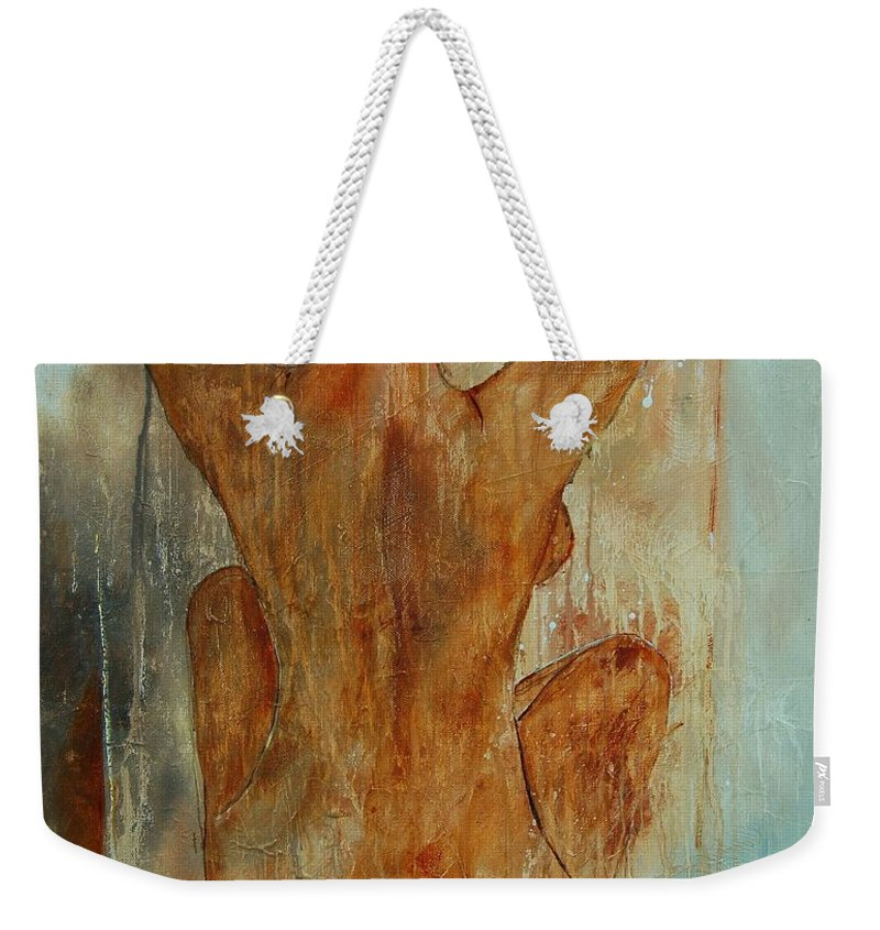 Nude Weekender Tote Bag featuring the painting Nude 56901101 by Pol Ledent