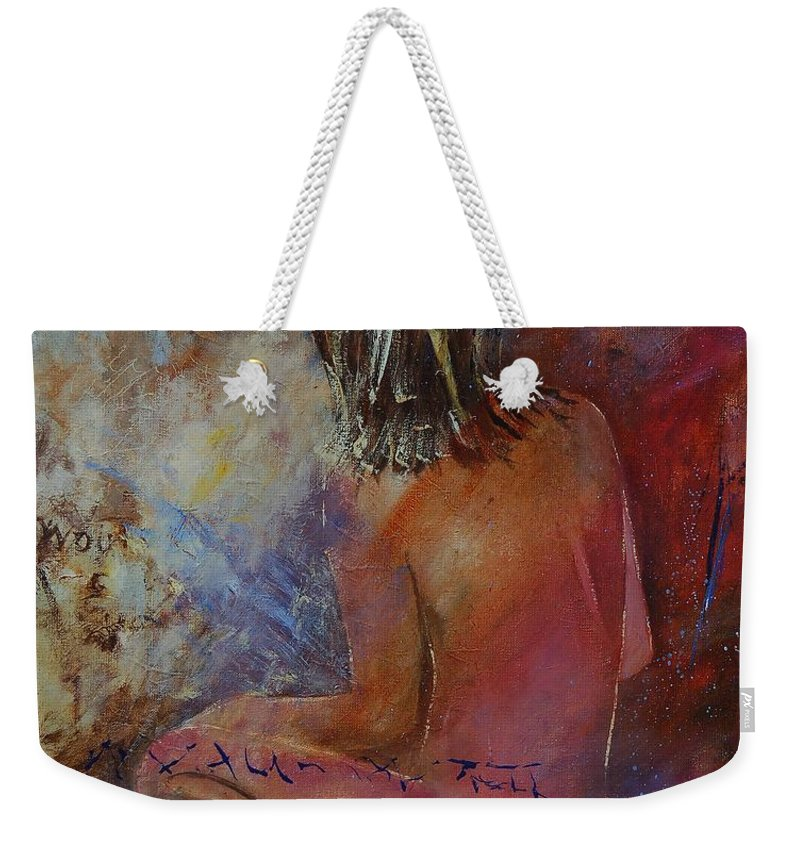 Nude Weekender Tote Bag featuring the painting Nude 569090 by Pol Ledent