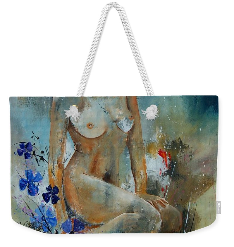 Girl Weekender Tote Bag featuring the painting Nude 67 by Pol Ledent