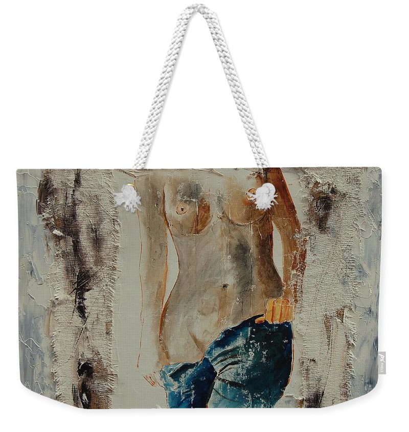 Girl Weekender Tote Bag featuring the painting Nude 674521 by Pol Ledent