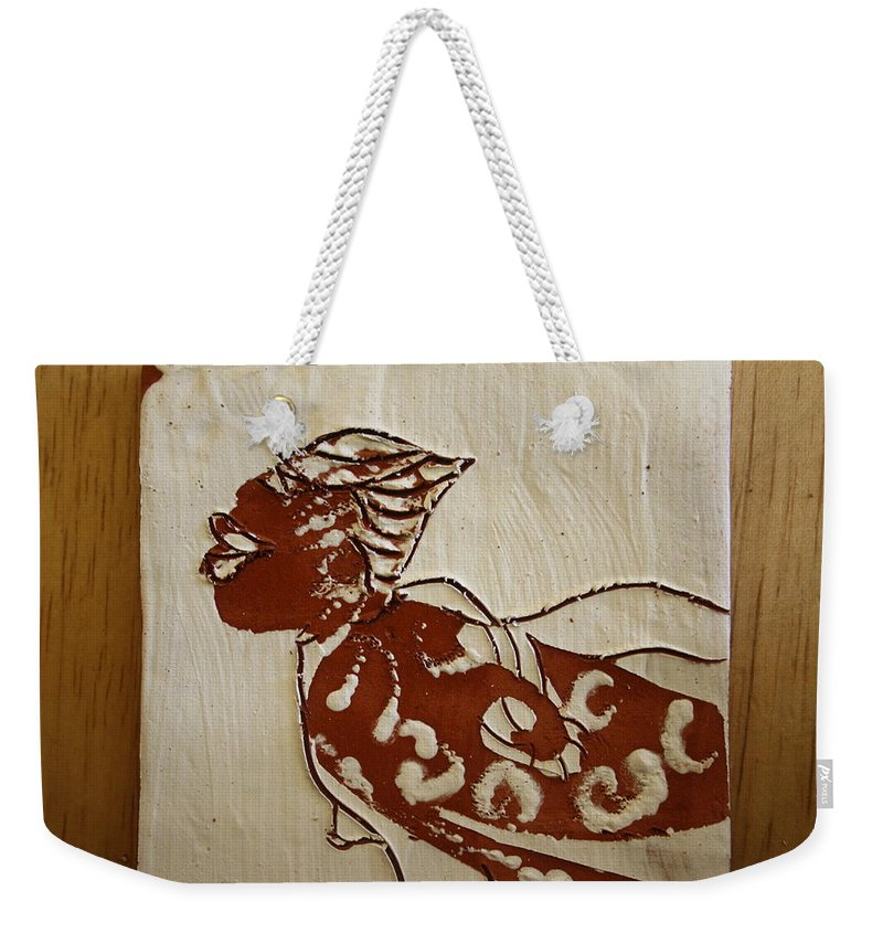 Jesus Weekender Tote Bag featuring the ceramic art Nude 7 - Tile by Gloria Ssali