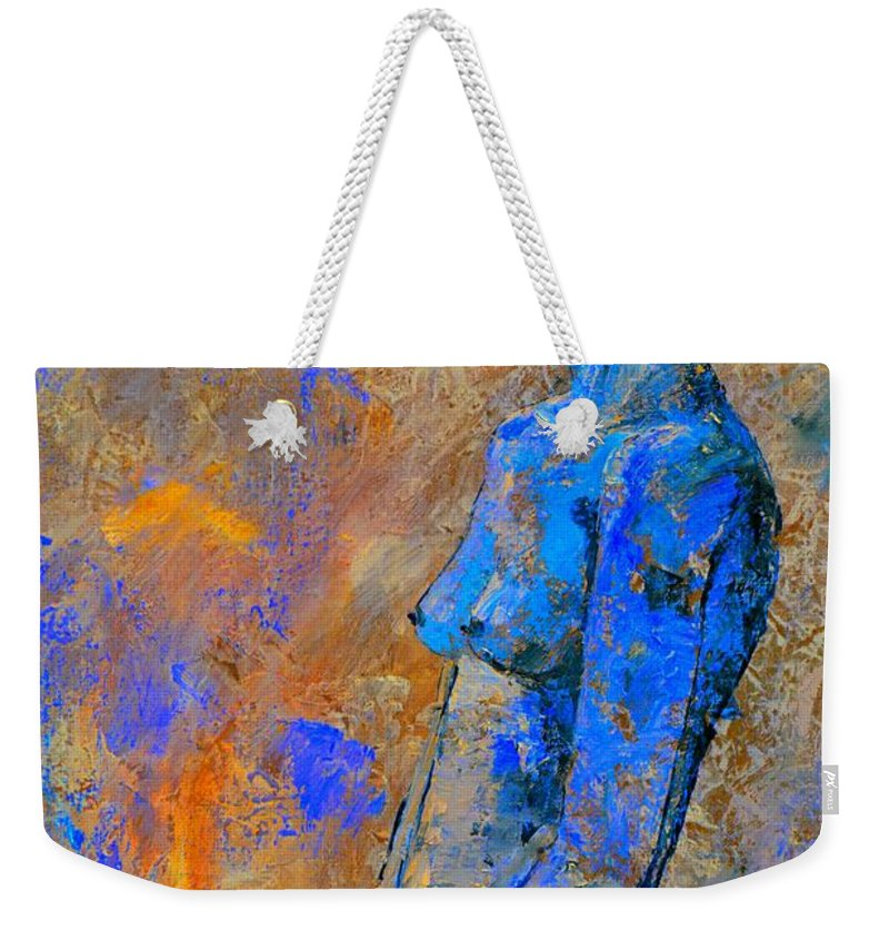Nude Weekender Tote Bag featuring the painting Nude 7551 by Pol Ledent