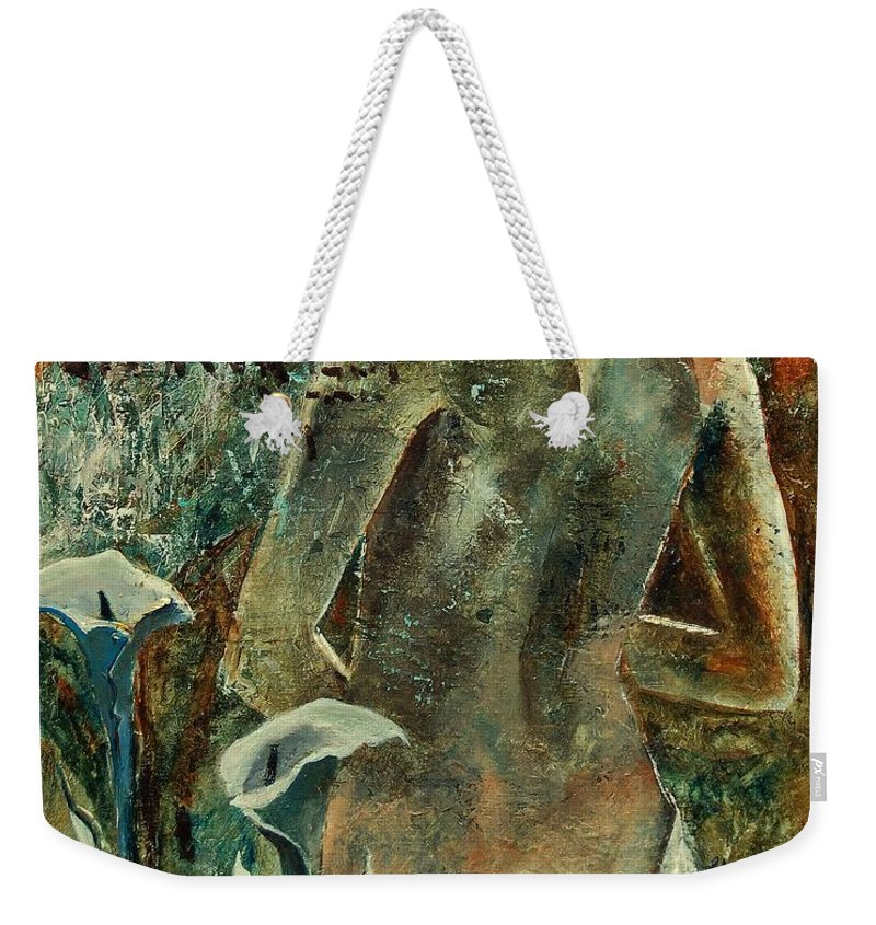 Girl Weekender Tote Bag featuring the painting Nude And Arums by Pol Ledent