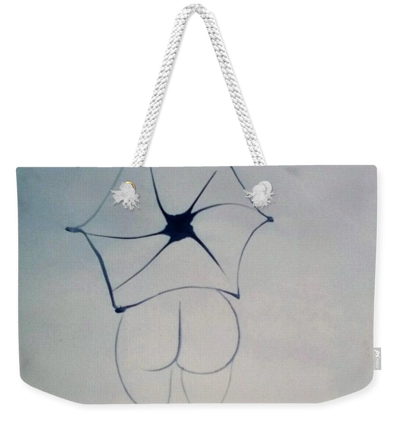 Nude Weekender Tote Bag featuring the painting Nude And Umbrella by Lou Xiang