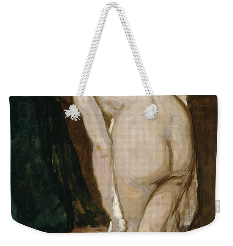 Eduardo Weekender Tote Bag featuring the painting Nude Drying Herself After A Bath by Eduardo Rosales Gallinas