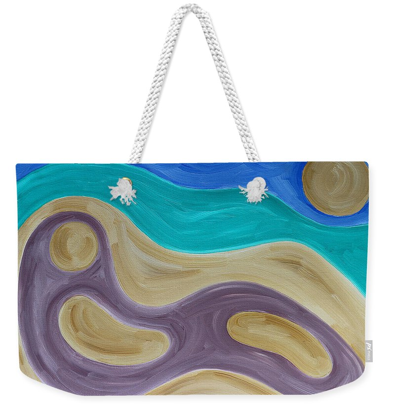 Beach Weekender Tote Bag featuring the painting Nude On Beach by Patrick J Murphy