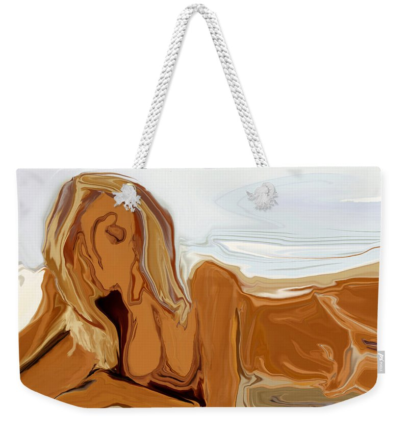 Abstract Weekender Tote Bag featuring the digital art Nude On The Beach by Rabi Khan