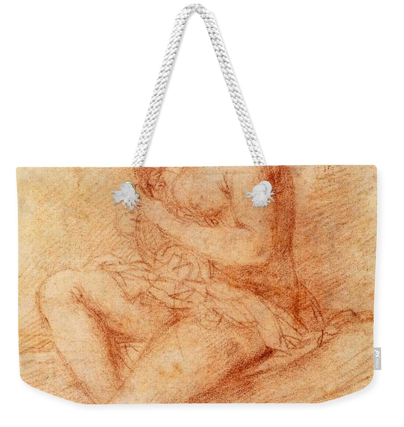 Giovanni Baglione Weekender Tote Bag featuring the drawing Nude Seated Woman Playing A Lute by Giovanni Baglione